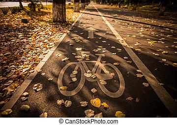 couloir, vélo, symbole, parc