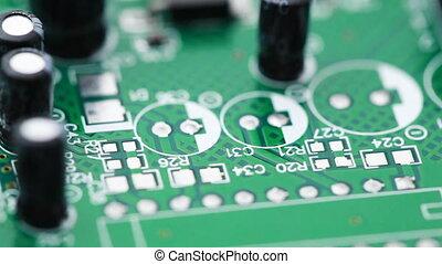 counterclockwise, circuit, radio, imprimé, composants, tourne, planche