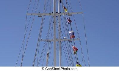 countries., drapeaux, mât, différent, bateau