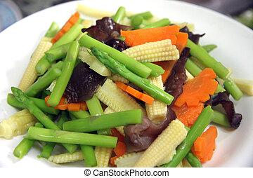 coupé, beaucoup, légumes, types, dish.