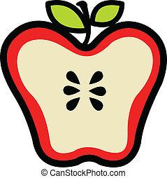 coupé, rouges, moitié, pomme, juteux