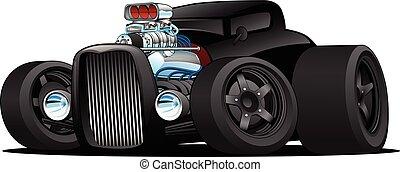coupé, voiture, vecteur, tige, chaud, vendange, dessin animé, illustration, coutume