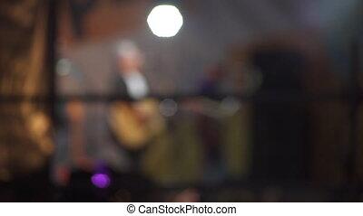 coup, concert, foule, gens, silhouettes, fond, slowmotion, étape