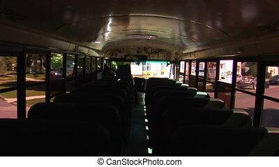 coup, conduite, schoolbus, rues, par, vide