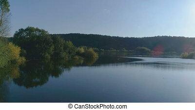 coup, dévoilement, lituanie, ensoleillé, lac, aerial., bourdon, jour