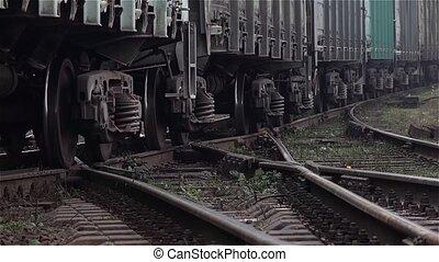 coup, haut, train, fin, running., roues