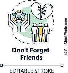 coup, idée, advices., icon., amis, contour, fiable, amitié, editable, temps, drawing., rgb, ligne, couleur, mince, dont, dépenser, vecteur, concept, oublier, mates., illustration., loyal, isolé, être