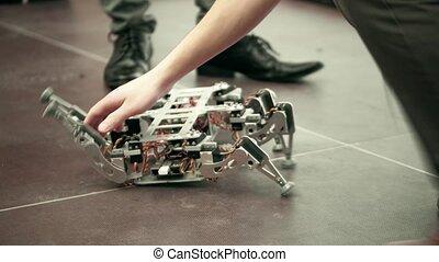 coup, robot., cassé, bricolage, hexapod, 4k