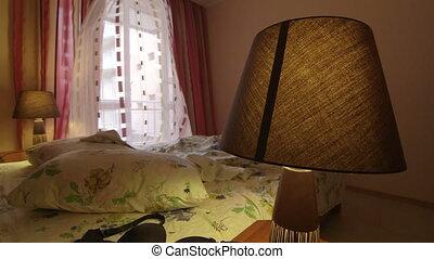 coup, salle, hôtel, lit, lingerie, chariot, désordre, unmade