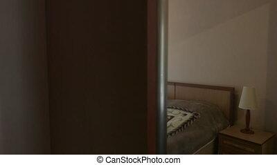 coup, salle, hôtel, reflété, intérieur, chariot, chambre à coucher, garde-robe