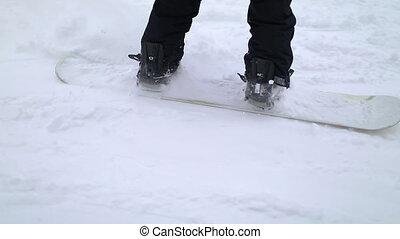 coup, snowboarder, bas ski colline, action