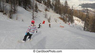 coup, snowboarder, suivre
