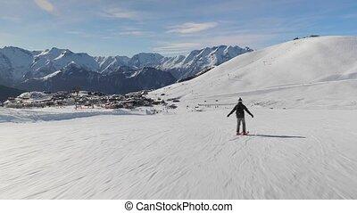 coup, suivre, skieur
