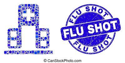 coup, timbre, bleu, grippe, gratté, hôpital, cachet, bâtiment, mosaïque