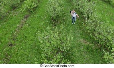 coup, verger pomme, couple, bourdon, vert, dater