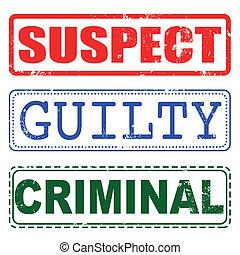 coupable, timbre, suspect, criminel