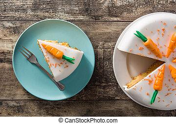 couper, bois, doux, sommet, gâteau carotte, table., vue
