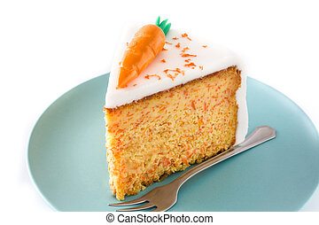 couper, doux, isolé, arrière-plan., gâteau carotte, blanc