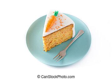 couper, doux, isolé, carotte, fond, gâteau, blanc
