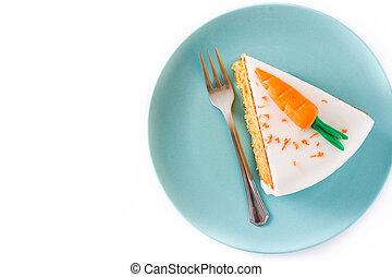 couper, doux, sommet, isolé, arrière-plan., gâteau carotte, blanc, vue.