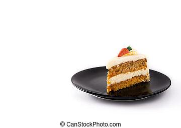 couper, espace, plaque, carotte, arrière-plan., gâteau, isolé, blanc, copie, doux