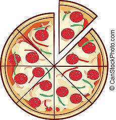 couper, illustration, pizza