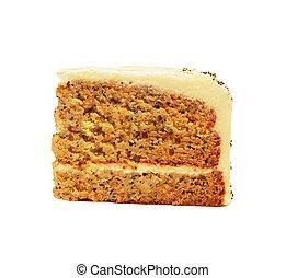 couper, isolé, carotte, fait maison, gâteau, blanc