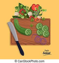 couper, salade, oignon, légumes, concombre, frais, couteau