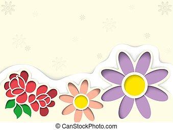 coupes-circuit, style, fleurs, carte voeux