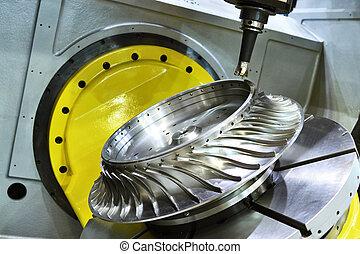 coupeur, découpage, cnc, moudre, moulin, process., metalwork, usinage