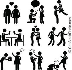 couple, étreinte, amour, proposition, amant