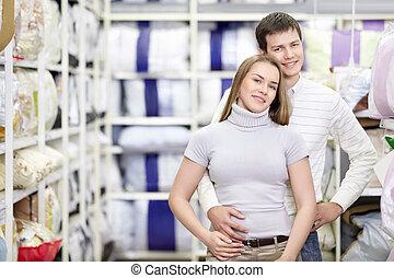 couple, achats, heureux