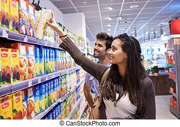 couple, achats, supermarché