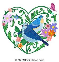 couple, agréable, feuilles, stylisé, oiseaux, séance, brindilles