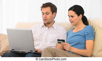 couple, agréable, internet, quelque chose, achat