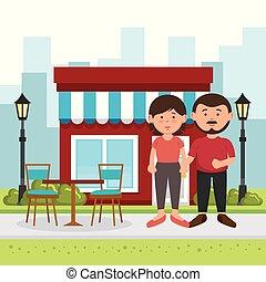 couple, amants, rue