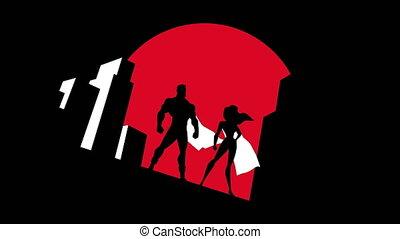 couple, animation, superhero, symbole, fond