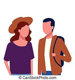 couple, anonyme, marcher ensemble