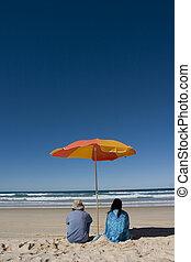 couple, apprécier, beach..
