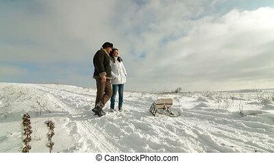 couple, apprécier, hiver, adulte