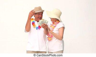 couple, argent, fermé, leur, projection
