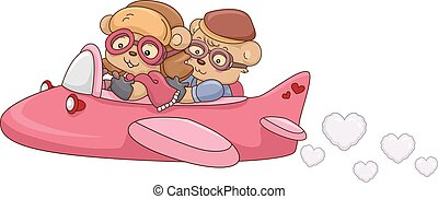 couple, avion, ours