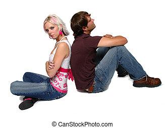 couple, avoir, jeune, baston