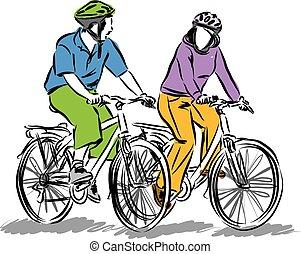 couple, bicycles, conduite, illustratio