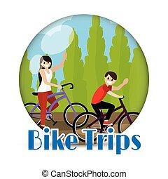 couple, bicyclette voyageant