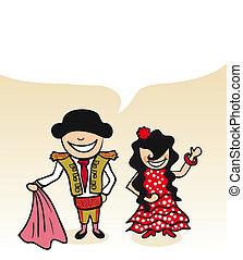 couple, bulle, dessin animé, dialogue, espagnol