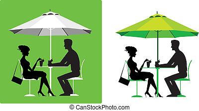 couple, café extérieur