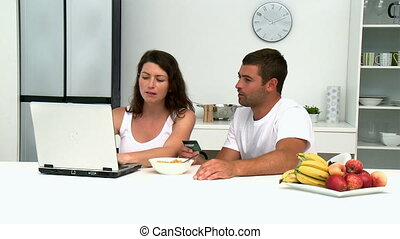 couple, carte, internet, achat, crédit