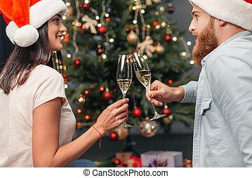 couple, champagne, boire, jeune