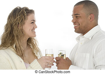 couple, champagne